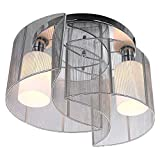 SEEKSUNG Deckenleuchten,2 Light Semi Flush Mount Ceiling Light Fixture Mit, Glass Shade and Tuch Cover, Chrome, Mini Style