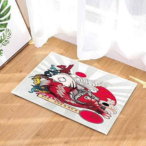 HTSJYJYT Tapis de Bain de Style Japonais Style National Carp Rouge Nuage Vague Soleil paillasson étage Portes coulissantes étage intérieur Porte Tapis 60X40CM