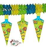 alles-meine.de GmbH 3 Stück _ XL Girlanden -  Schultüte & Zuckertüten  - Kinder / Partykette - 4 m Wimpelkette - Party - Schuleinführung Schule - Schulbeginn Fest Schulbeginn D..