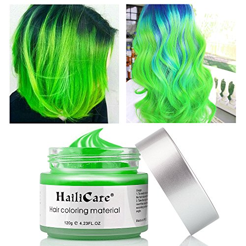 HailiCare 120g Grün Haarwachs Männer Frauen Professionelle Haar Pomaden, Temporäre Haarfarbe Farbstoff Wachs Hair Styling Flauschige Matte Haar Schlamm-Gel-Creme für Partei, Festival & (Grün Gel Haarfarbe)