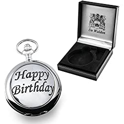 Boy's 16th Birthday Gift, Engraved Pocket Watch with Pewter Happy Birthday Case in a Presentation Box