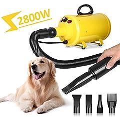 Idea Regalo - amzdeal Soffiatore per Cani con 4 Ugelli, 2800W, 2 Livelli di Temperature(30℃/55℃), velocità di Vento Regolabile, Meno Rumore, Asciugacapelli per Cani per Uso Privato e Professionale