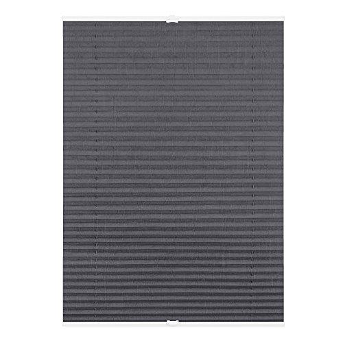 Lichtblick Plissee Klemmfix, 75 cm x 130 cm (B x L) in Grau, ohne Bohren, Sicht- und Sonnenschutz, lichtdurchlässig & blickdicht