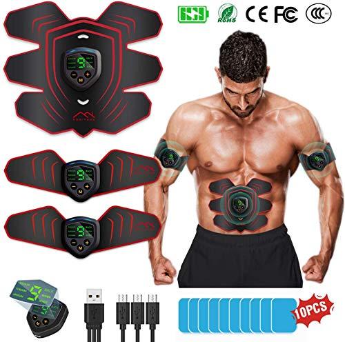 BuTure EMS Trainingsgerät, Bauchmuskeltrainer Muskelstimulator USB Wiederaufladbar & LCD Bildschirm ABS Stimulator EMS Elektrostimulation Muskel Trainer