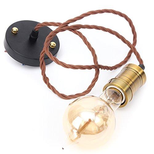 KingSo Hängeleuchte Vintage, Kit Moderne Retro Industrie-Stil E27Sockel Messing Lampe Halter 1.2Meter 3-Draht-Schnur Twisted Stoff Kabel Deckenleuchte Rose