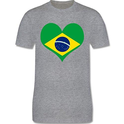 Länder - Brasilien Herz - Herren Premium T-Shirt Grau Meliert