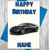 Sport BMW Auto Personalisierte Geburtstagskarte–Jeder Name und Alter Druck auf der Vorderseite