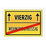 Große XXL Geburtstags-Karte mit Umschlag/DIN A4/40 Vierzig/Geburtstag/Happy Birthday/Witzig als Orts-Schild