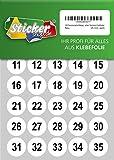 100 nummerierte Klebepunkte, 25 mm, weiß, aus PVC Folie, wetterfest, Markierungspunkte Kreise Punkte Zahlen Nummern Aufkleber