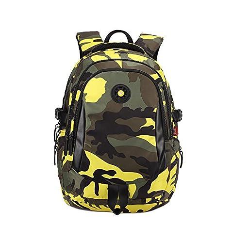 YSBER Sac à dos d'école de camouflage de mode Étudiants primaires et secondaires Sac de camouflage à grande capacité imperméable à l'eau(Jaune)