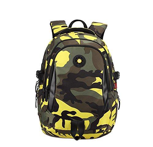 YSBER Fashion Camouflage Schulrucksack Primary und Secondary Students Wasserdichte Large Capacity Camouflage Rucksack(Gelb) (Rosa Camouflage-rucksack)