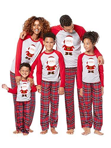 Passende Familien-Schlafanzüge für Weihnachten Xmas Sleepwear Eltern-Kind-Nachtwäsche Weihnachtsmann-Print-Tops + Plaids-Hosen (2-3T, Kids)