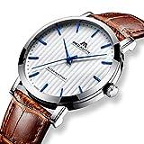 Herren Uhren Männer 30M Wasserdicht Sport Luxus Kleid Analog Quarz Braun Echtes Lederband Uhr Herren Klassisch Mode Einfach Design Casual Dünn Armbanduhr mit Weiß Zifferblatt