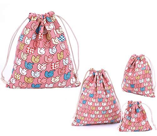 Amoyie - 4 pezzi organizer borsa tela con coulisse, Sacchi da biancheria, sacchettini per feste, abiti, pannolini, giocattoli, matite colorate, caramella, regalo (4 diverse dimensioni)