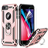 LeYi Custodia iPhone 7/8,iPhone 6 / 6S Cover, 360° Girevole Regolabile Ring Armor Bumper TPU Case Magnetica Supporto Silicone Custodie con HD Pellicola per Apple iPhone 6 / 6S / 7/8 Case Rose Gold