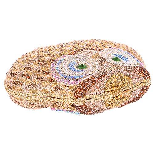 Borsa Da Sera Con Pochette Da Donna Con Frizione Borsa Con Gufo In Cristallo Glitterato Con Catene Sostituibili In Oro Santimon (15 Colori)