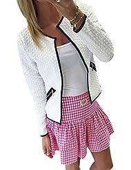 FEITONG Las mujeres de manga larga del enrejado del tartán de Cardigan Top Coat Jacket Outwear la blusa