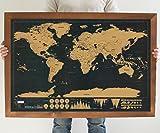 Carte du monde à gratter Sunflower.W- Éditionde luxe - 82,5x 59,5cm