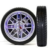 (065) LED Wanduhr Design Grand Racing Reifen Uhr Auto Motorsport 16 LED 35x8cm