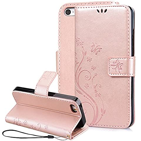 SmartLegend Coque iPhone 5 , iPhone 5S Case iPhone SE Etui Or Rose Cuir Coque pour Apple iPhone 5 iPhone 5S iPhone SE Etui Strap Fleur Papillon Modif Rose Gold PU Mode Wallet Case Fonction Stand Flip Cover Pochette Protection à Rabat Magnétique Fente Carte Encastrée - Apple iPhone 5 iPhone 5S iPhone