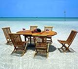 Wood-en-Stock - Set di mobili da giardino composto da tavolo e sedie, in legno teak, 6 posti
