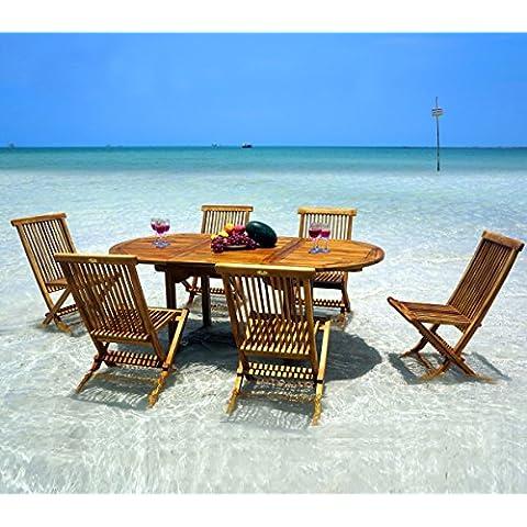 Wood-en-Stock - Conjunto de mesa y 6 sillas de teca para jardín
