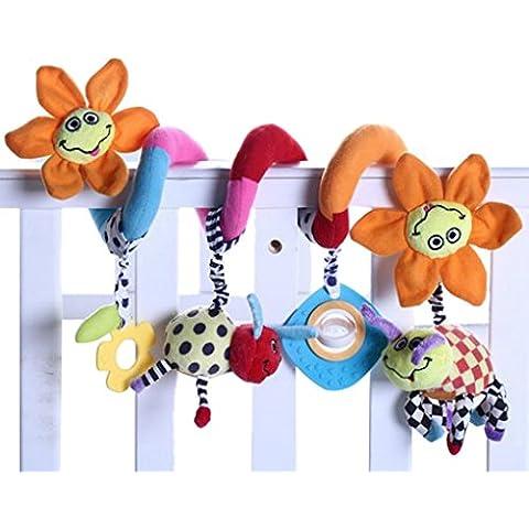 Happy Cherry - Juguetes Espiral Colgantes Peluche Animales para Cuna Cochecito bebés niños con sonidos - Flor de