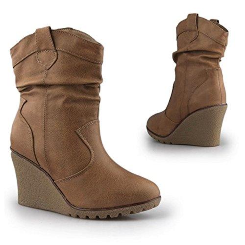 Damen Stiefeletten Warm Gefüttert Stiefel Keilabsatz Wedges Boots Plateau Schuhe Q99 Khaki