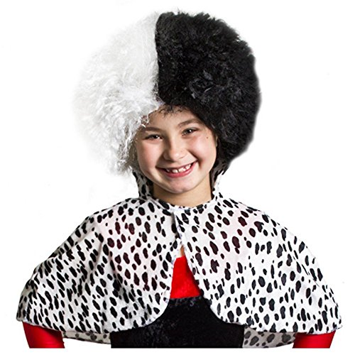 ILOVEFANCYDRESS Kinder BÖSE Dalmatiner Hunde Lady Umhang MIT PERÜCKE FÜR Kinder Umhang Hat Einen Klettverschluss und DIE PERÜCKE IST HALB SCHWARZ HALB WEIß IM Afro Stil und Hat Das PRÜFZEICHEN EN17 (Hund Kostüm Pimp)