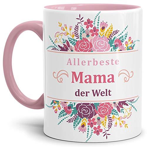 Mama-Tasse Allerbeste Mama der Welt Innen & Henkel Rosa - Mug/Cup/Becher/Schön/Blumen/Mutti/Mutter-Tag/Familie Qualität - 25 Jahre Erfahrung (Mikrowellen Oster)
