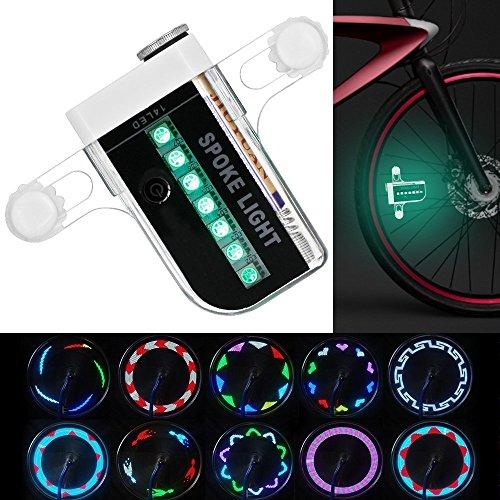WINI bicicletta luci LED della rotella, impermeabile 14 LED colorati ha parlato la luce, esterna che guida con 30 diversi cambi di