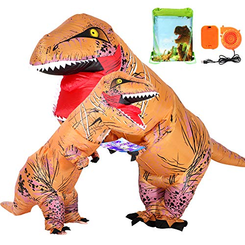 VAMEI 2pcs Dinosauro Gonfiabile T-Rex Costume Gonfiabile Adulti Bambini Fancy Dress Costumi Halloween Divertente Cosplay Outfit per Dinosaur Party Carnevale di Halloween Bambini e adulti Con Coulisse Sacchetti regalo