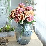 Longra Wohnaccessoires & Deko Kunstblumen Künstliche 5 Stück Künstliche Fake Rosen Flanell Blume Bridal Bouquet Hochzeit Party Home Decor Blume (F2: 1 Strauß 7 Köpfe)