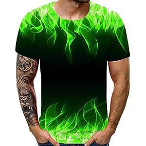 EUZeo 3D Bunt Fire gedruckt Kurzärmelig T-Shirts für Herren Rundausschnitt Training Running Tennis Sportshirt Männer Fantastic Tops Tee