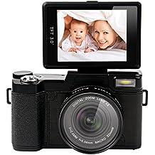 """CkeyiN® 1080P HD Cámara Digital con TFT Pantalla 3.0"""" de Rotación de 180° + 0.43X Objetivo Gran Angular+ Filtro UV ( 24 Megapixels, 4X Zoom digital, Anti-vibración, 20 efectos de fotografías) Fotografía para Principiantes"""