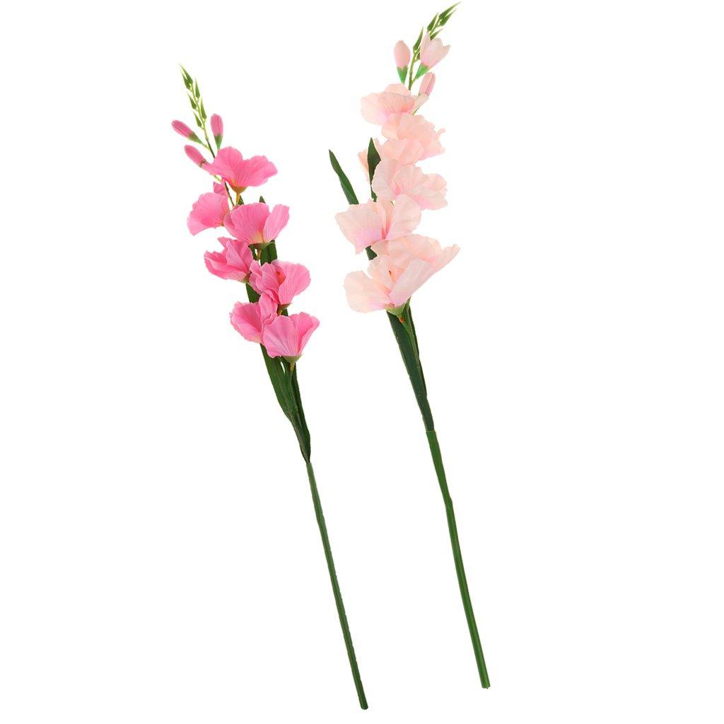 LOVIVER 2X Gladiolos Artificiales Tallo De Seda Tropical Flor Gladiolo Home Office Decor