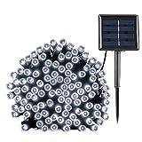 BrizLabs Guirnalda Luces Exterior Solares, 20M 200 LED Cadena de Luz Solar, Resistente Al Agua 8 Modos con Memoria Función Decoración Para Jardines, Patio, Navidad (Blanco Frio)
