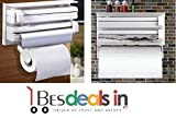 BEST DEALS - Triple Paper Dispenser Plastic Wrap Aluminium Foil Paper Cling Cutter Shelf Frame Rack Kitchen Tool