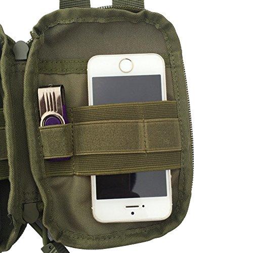 Hzone Tactical bag, borsa marsupio tasca Compact Outdoor molle del sacchetto per 14cm Smart Phone, Black army green