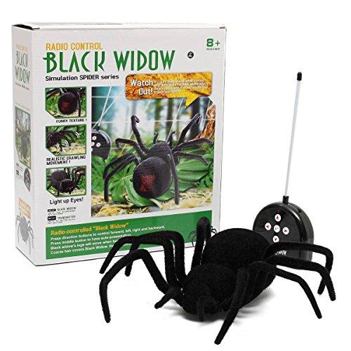 te Spinne Fernbedienung Spider Spielzeug Geschenk Halloween Riesenspinne Latrodectus Black Widow 30*30*8.5cm ()