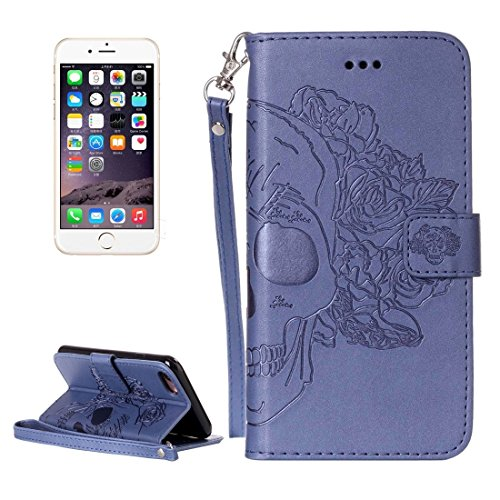 Phone case & Hülle Für iPhone 6 / iPhone 6s, Crazy Horse Texture Skull Printing Horizontal Flip Leder Tasche mit Halter & Card Slots & Wallet & Lanyard ( Color : Brown ) Dark blue