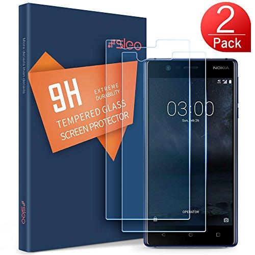 SLEO Panzerglas Schutzfolie für Nokia 3,Transparent Folie Panzerglasfolie mit [Anti-Kratz] HD Bildschirmfolie 9H Härte Kratzfest Tempered Glas für Nokia 3 - [2 Stück]