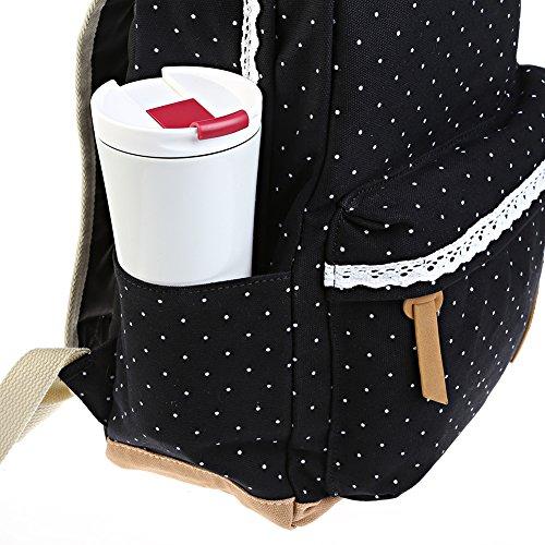 Rucksack Maedchen Fashion Mädchen Schulrucksack, leichte Damen Canvas Rucksack , Teenager PackageTravel Schultasche, Outdoor Freizeit Daypacks mit Schicker Lace(schwarz) schwarz