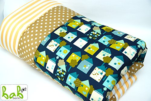 Handmade Baby Krabbeldecke Patchworkdecke 100x120cm weich gepolstert Grün Gelb für Mädchen oder Jungen