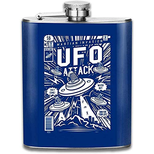 Ufo Attack Comic Buch Cover Print Flachmann Tasche Flasche Flagon Portable Edelstahl Flagon 7OZ
