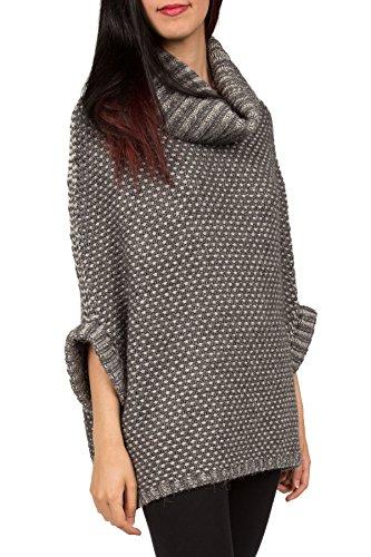 Kemailù - SELENE Poncho bicolore lana alpaca effetto vanisè - Donna Grigio
