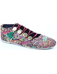 Menter Women's Casual Leaf Print Ethenic And Traditinol Footwear/Shoe/Belly With Upper Button Design