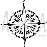 Azeeda Groß A2 'Kompass Stern' Wandschablone/Vorlage (WS00024529)