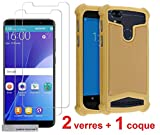 AccessOne Samsung Galaxy X Cover 4 (Xcover 4) SM-G390F 2 Verres Films Vitres de Protection ecran + 1 Coque Silicone Or Gold xcover4 by
