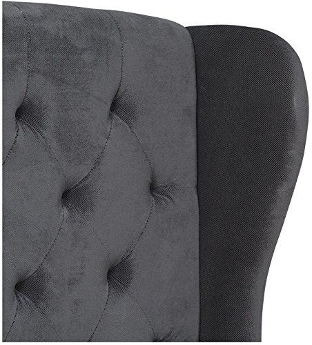Windsor Bed Frame in Kingsize 5ft with Luxurious Winged design in charcoal soft fabric
